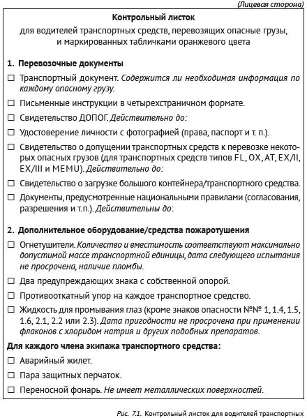 Контрольный листок для водителей транспортных средств, перевозящих опасные грузы (рис. 1)