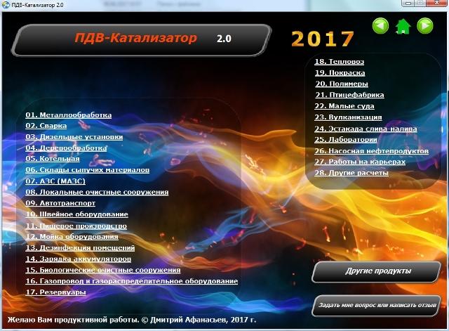 Главное меню Сборника ПДВ-Катализатор 2.0