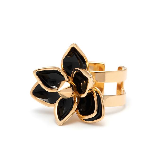 позолоченное кольцо-цветок с чёрной эмалью Black Flower от Maria Francesca Pepe