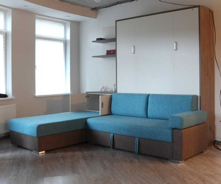 Шкаф-кровать Эволюция с угловым диваном