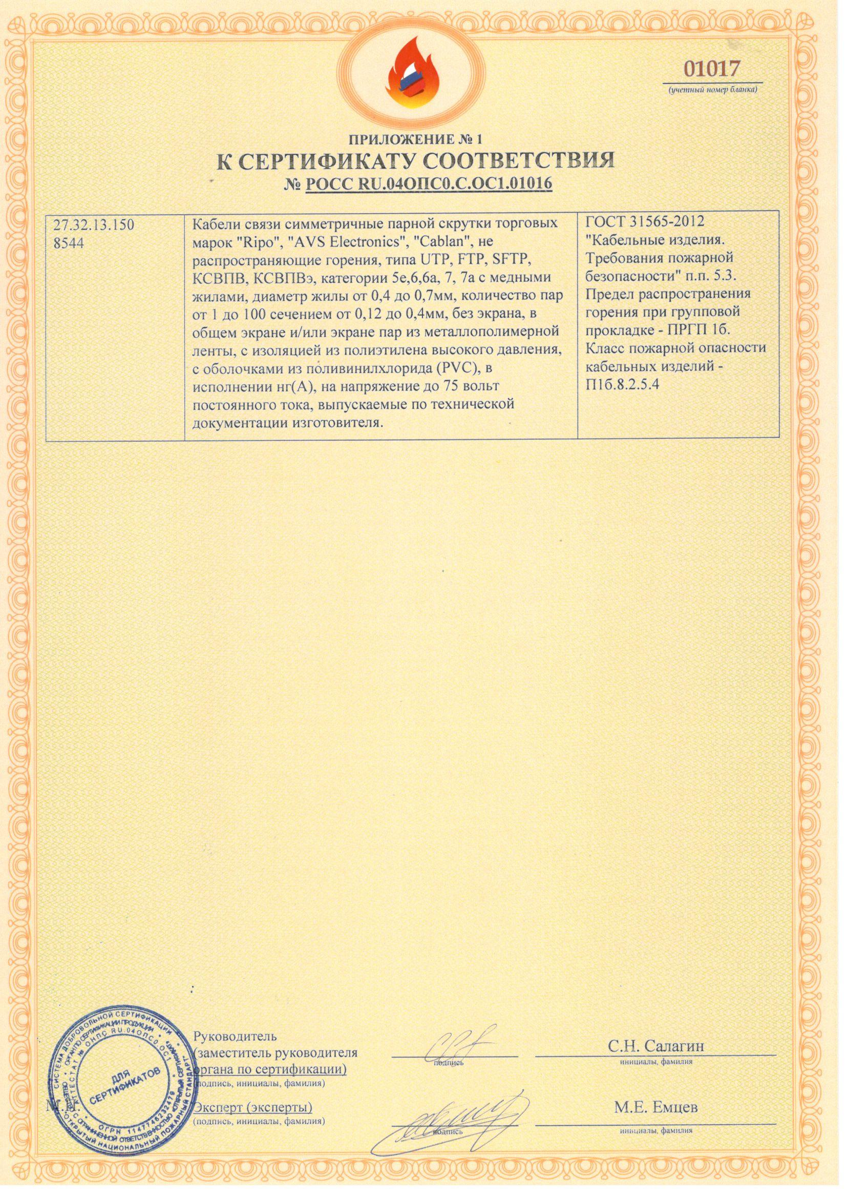 Пожарный сертификат Ripo, AVS Electronics