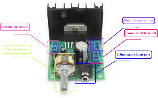 Модуль RS017. Стерео усилитель НЧ, 2 х 15 Ватт, (TDA7297)