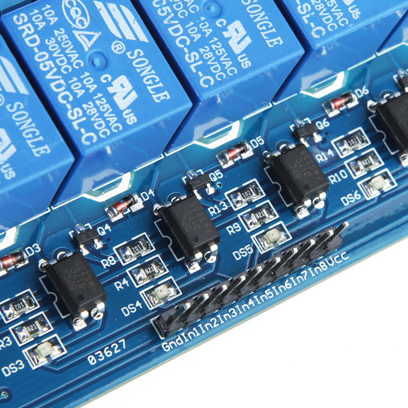 Модуль RA015. 8-ми канальное реле 250 В ; 10 А (Питание 5 В)