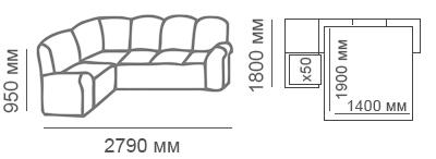 Габаритные размеры углового дивана Калифорния 1с3