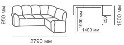 Габаритные размеры углового дивана Калифорния 3с1