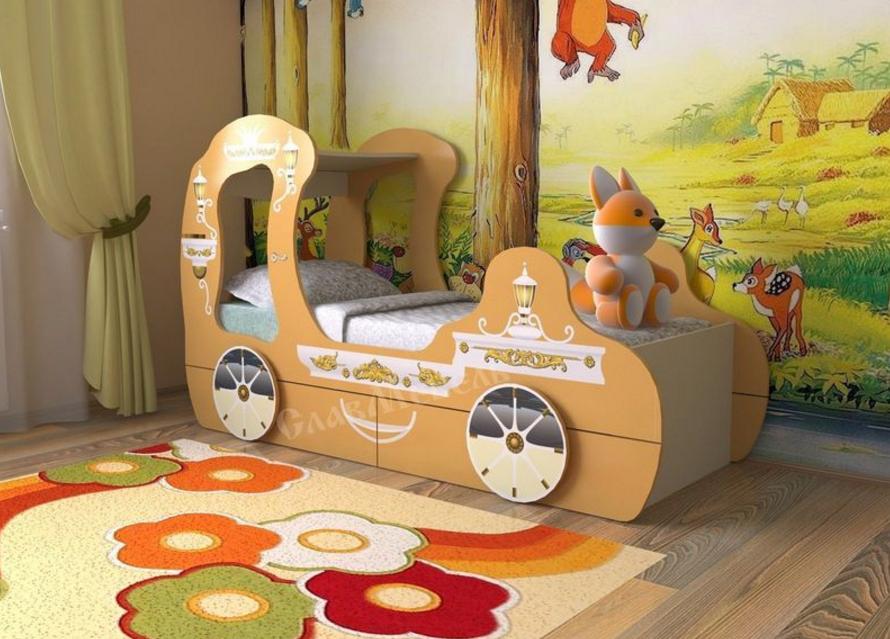 детская кровать машинка для девочек в виде кареты