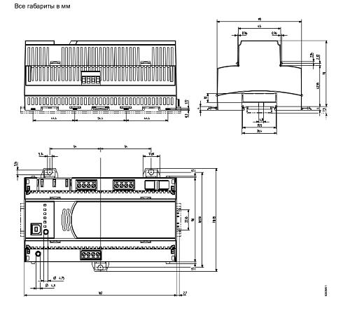 Размеры контроллера Siemens PXC3.E72A
