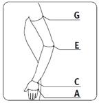 Схема измеренеия руки для подбора компрессионного рукава
