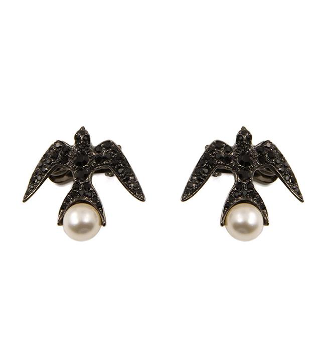 эффектные клипсы с кристаллами и жемчужинами Swaovski oт итальянского бренда Schield - Swallow clip-ons Jet