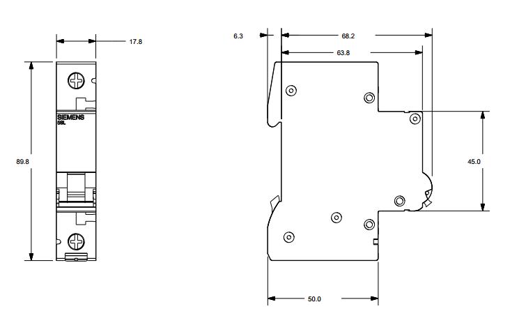 Размеры автоматического выключателя Siemens 5SL4110-7