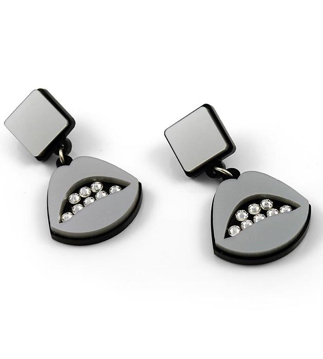 серебристо-чёрные серьги Sealed With a Kiss Silver от Jennifer Loiselle с кристаллами Swarovski