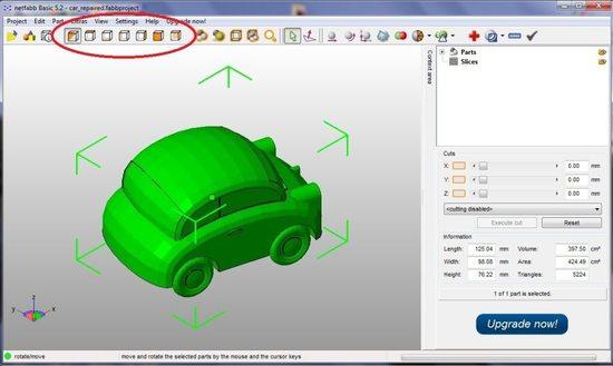 Интерфейс программы по 3D моделированию netfabb Basic