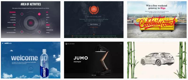 Пример необычного дизайна различных сайтов