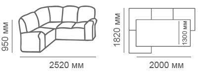 Габаритные размеры углового дивана Калифорния 1Яс2д