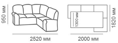 Габаритные размеры углового дивана Калифорния 2дс1Я