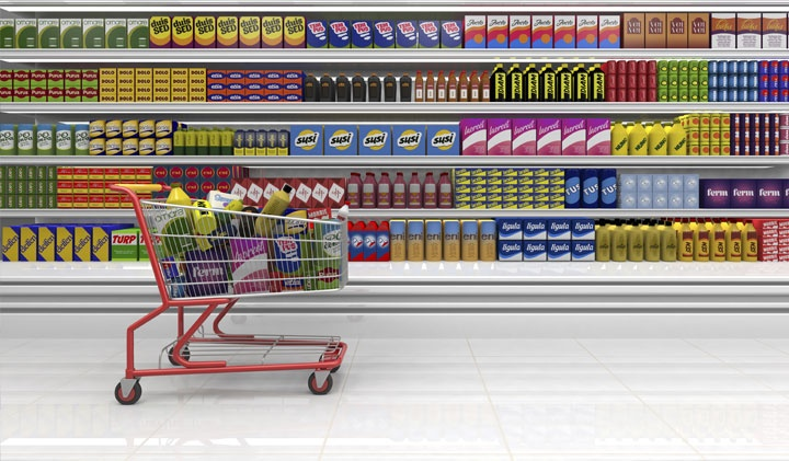 Размер тележки и корзины влияет на количество покупаемых товаров