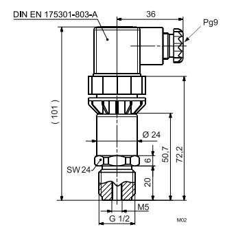 Размеры датчика Siemens QBE2103-P1.6