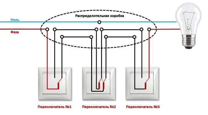 Схема монтажа прахаднова виключателя