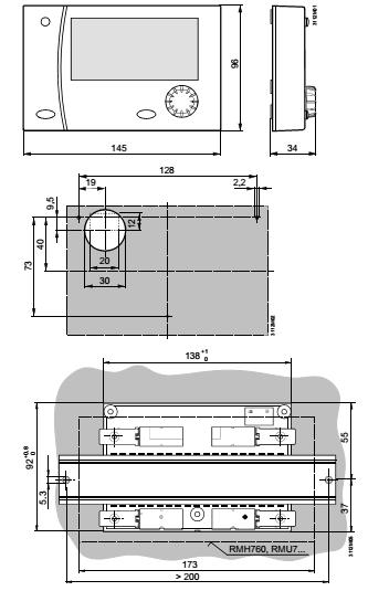 Размеры панели Siemens RMZ792