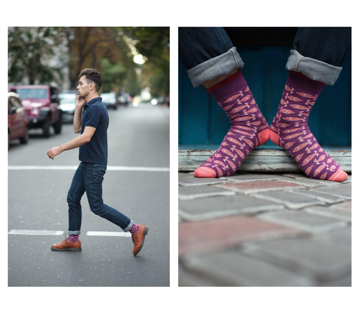 Модные дизайнерские фиолетовые носки с рыбками Sammy Icon