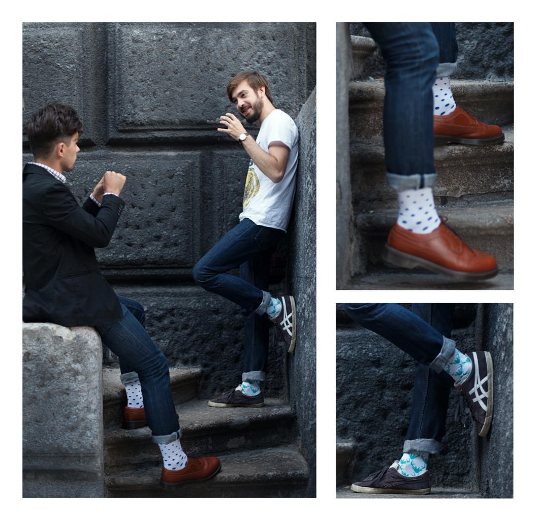Модные цветные носки в горошек и с оленями бренда Sammy Icon