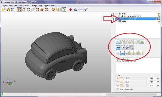 Измерение 3D модели в netfabb Basic