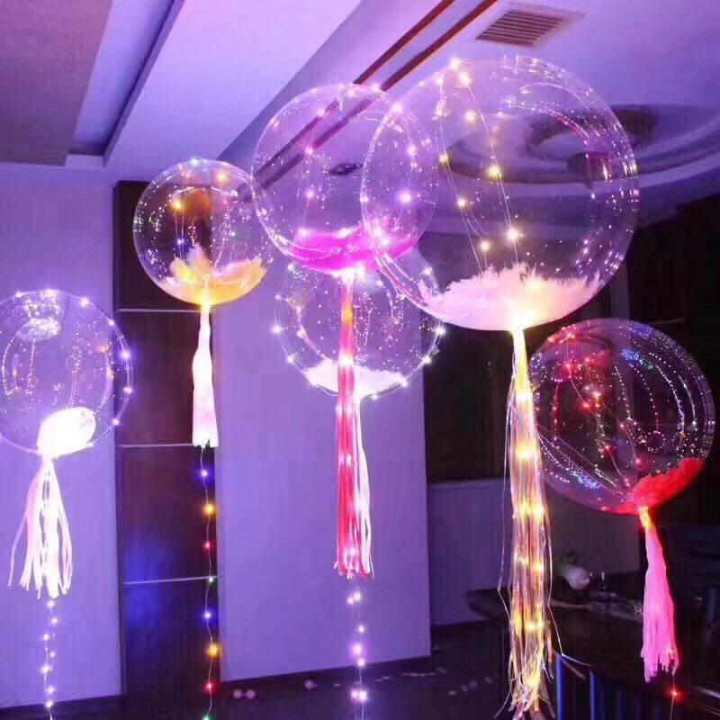 Воздушный шар со светодиодами гелиевый прозрачный