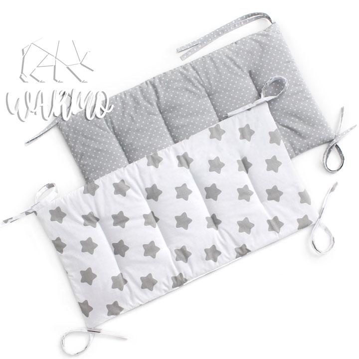 бортики в кроватку сірі в білу точку фото