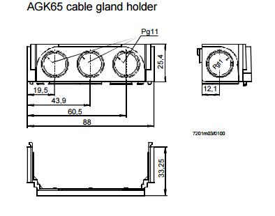 Размеры держателя сальника кабеля Siemens AGK65