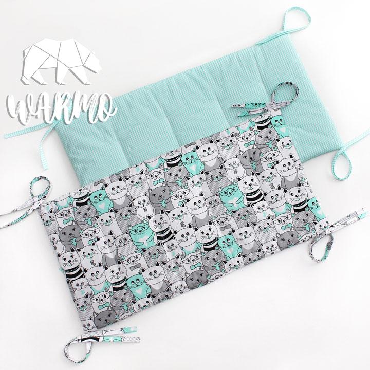 бортики в кроватку з бірюзовим зигзагом фото