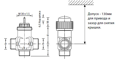Размеры клапана Schneider Electric VZ32/20/2.5