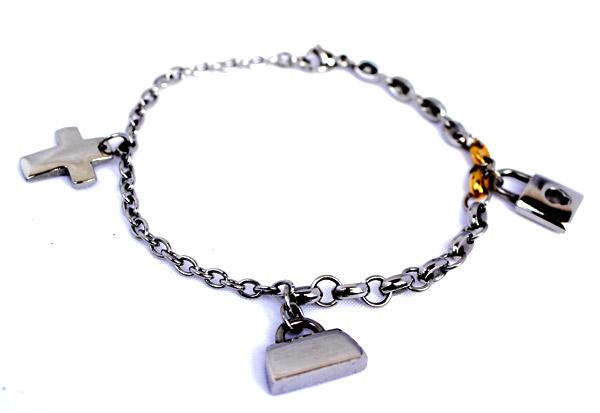 Металлический женский браслет с подвесками  фото купить