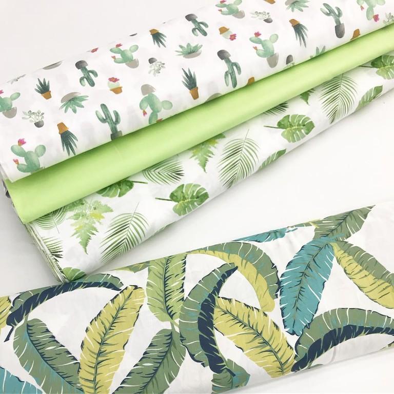 Купить ткань с тропическими листьями