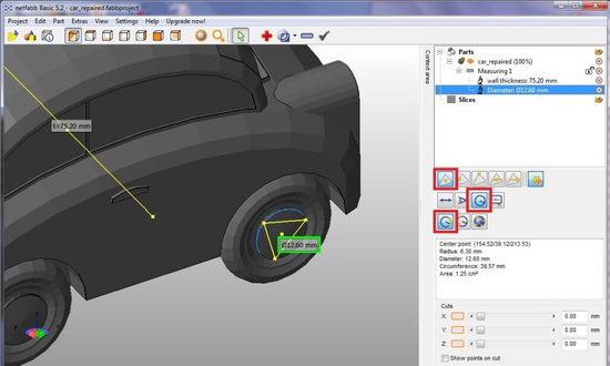 Снятие размеров 3D модели в netfabb Basic