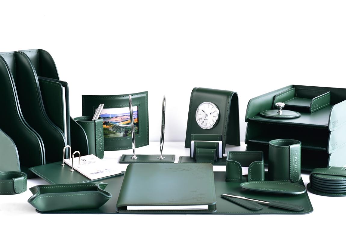зеленый кожаный набор руководителя