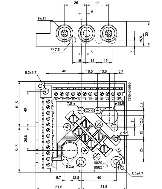 Размеры цоколя Siemens AGM11