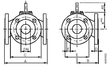 Размеры клапана Siemens VBF21.100