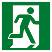 Эвакуационный знак безопасности Е01-02 выход здесь правосторонний