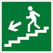 Знак Е14 направление движения эвакуации по лестнице вниз налево