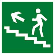 Знак Е16 направление эвакуации по лестнице вверх налево