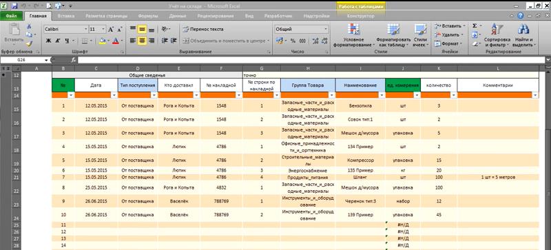Пример ведения складского учета в Excel-таблицах