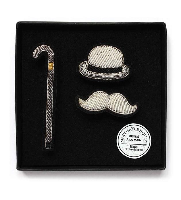 оригинальный коплект из 3 расшитых вручную брошек Charlie Panoply box от Macon&Lesquoy