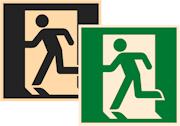 знаки фотолюминесцентные эвакуационные Е01-01 Выход здесь (левосторонний)