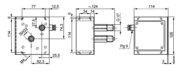 Размеры датчика Siemens QBE61.3-DP5