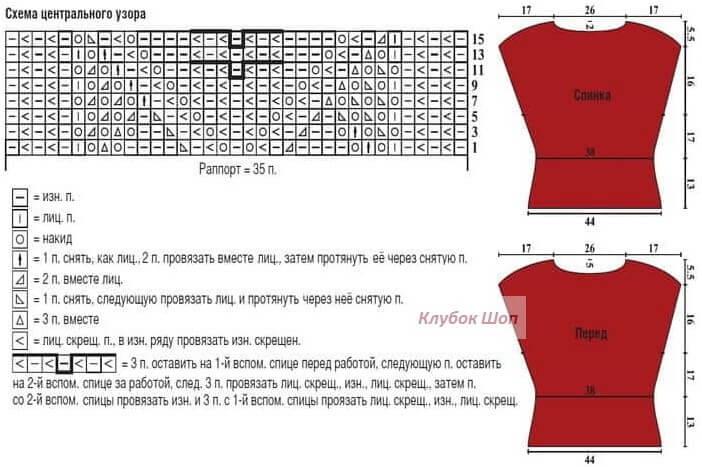 Схема вязания ажурного узора женского летнего топа из Розы