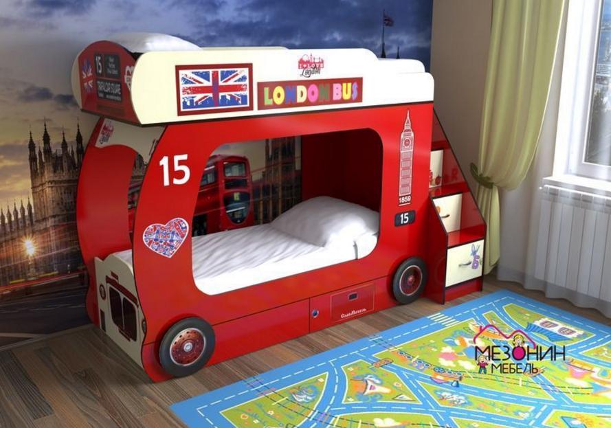 двухъярсуная кровать в виде автобуса станет приятным местом сна