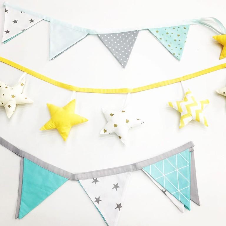 Декоративные флажки в детскую из ткани