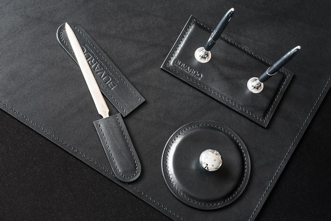 Нож для вскрытия конвертов с чехлом из черной кожи Full Grain Brown Black