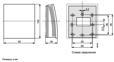 Размеры датчика Siemens QFA2060D