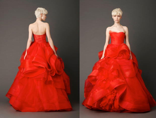 Vera Wang Red Wedding Gown, Неделя свадебной моды 2013
